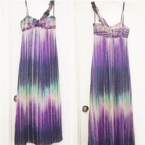 BCBGMAXAZRIA Purple Multi One Shoulder Maxi Dress